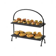 Slate Rectangular 2 Tier Tray Cake Stand with Iron Frame